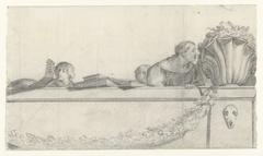Personen op een balustrade met festoenen