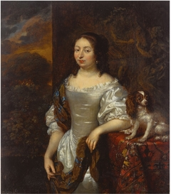 Portrait of a Lady with a Dog on a Table