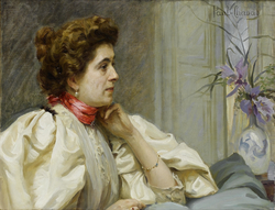 Portrait of a lady with a red scarf