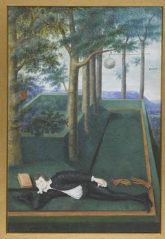 Portret van een liggende edelman in een begroeide hof; Portret van Henry Percy, 9th Earl of Northumberland