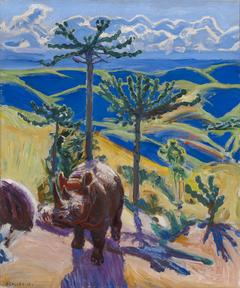 Rhinoceros and Euphorbia trees