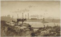 Rivierlandschap met koe