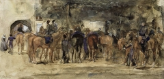 Rustende cavalerie op een plein