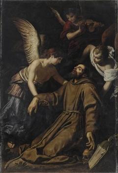 Saint François d'Assise réconforté par les anges après sa stigmatisation