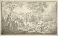 Scène uit de antieke geschiedenis: een man gooit een steen naar een romeinse veldheer
