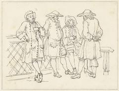 Schetsen van staande, leunende en zittende mannen