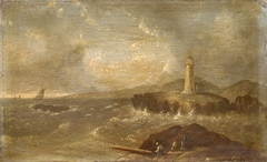 Shipping off the coast near a lighthouse