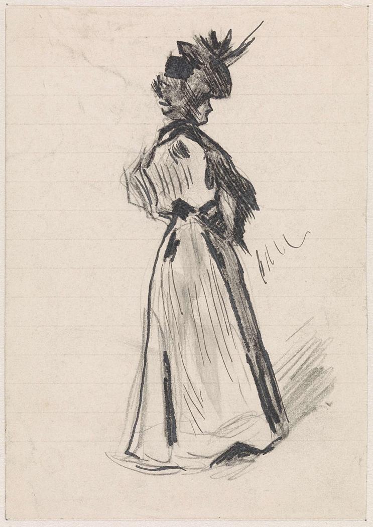 Staande dame, met hoge hoed en de handen in de zij