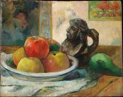 Still Life with Apples, a Pear, and a Ceramic Portrait Jug