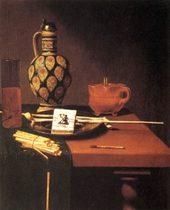 Still life with glass, flask, pipe and tobacco packet