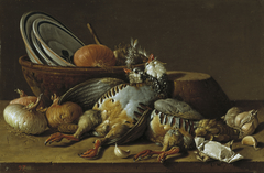 Still Life with Partridges, Onions, Garlic and Vessels
