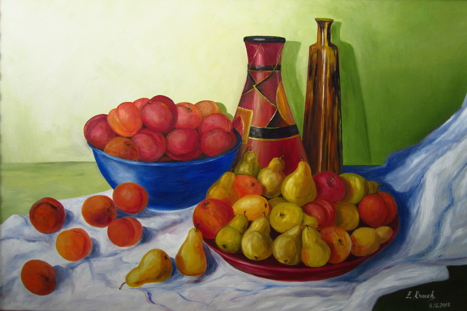 Still Life with Pears and Peaches