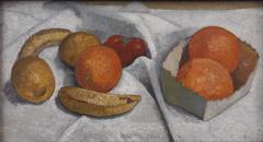 Stilleben mit Orangen, Bananen, Zitrone und Tomate