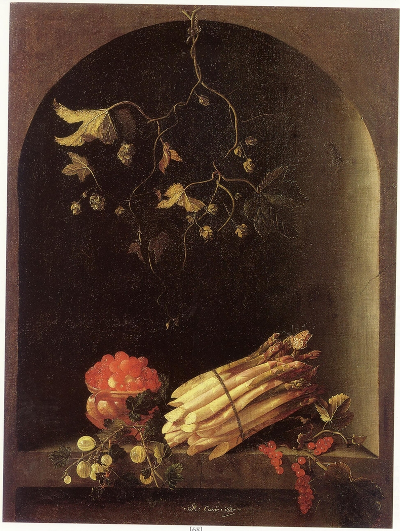 Strawberries, Asparagus, and Gooseberries in a Niche