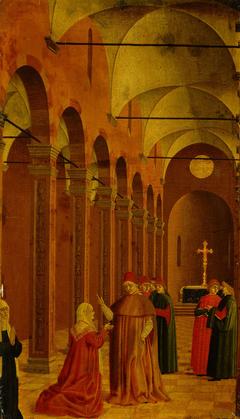 Szene aus dem Leben des Hl. Vinzenz Ferrer: Die Mutter des Heiligen fragt den Bischof von Valencia nach dem Sinn der wunderbaren Zeichen, die die Geburt ihres Kindes ankündigen