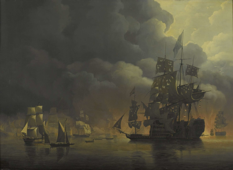 The Anglo-Dutch Fleet under Lord Exmouth and Vice Admiral Jonkheer Theodorus Frederik van Capellen putting out the Algerian Strongholds, 27 August 1816
