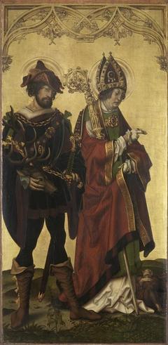 Triptychon von 1505: Die hll. Eustachius und Valentin Rückseite: Hl. Rochus