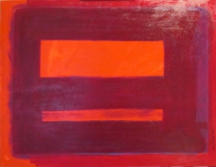 VIOLET OVER ORANGE FIELD 032411; 30in X 40in; Oil on Canvas; Steve Hendrickson; NFS; Collection~Allison Field