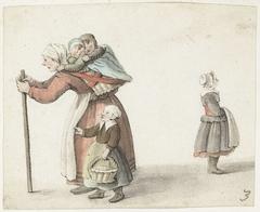 Vrouw met twee kinderen in een draagmand