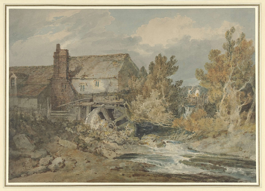 Watermill near a Flowing Brook