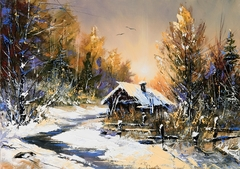Winter landscape with wood
