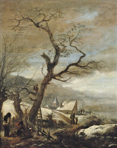 Winter landscape with woodcutters and travellers on a path to a village