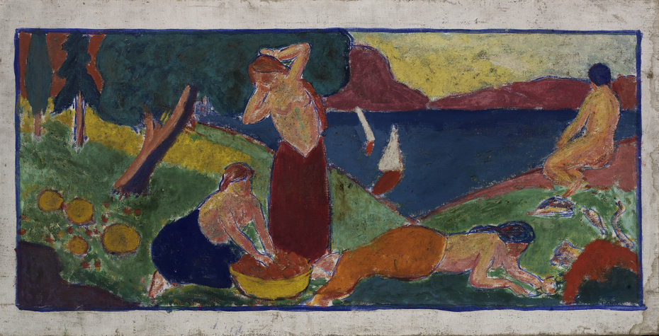 (Women in Landscape with Blue Border)