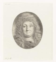 Zelfportret van Ludolf Bakhuysen, borstbeeld, nagenoeg en face