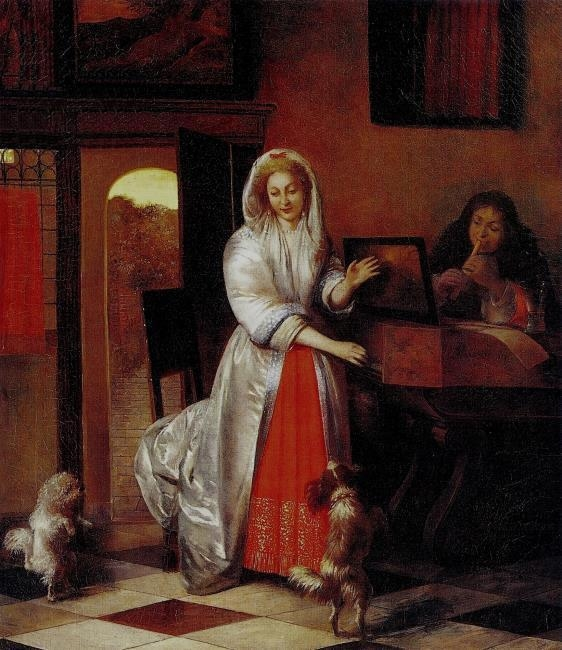 A Lady and a Gentleman making Music with dancing Dogs
