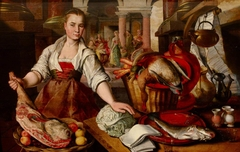 A Maid in a Kitchen with Christ in the House of Martha and Mary in the background