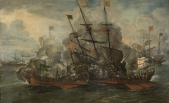 A naval battle scene between the Spaniards and Turks.
