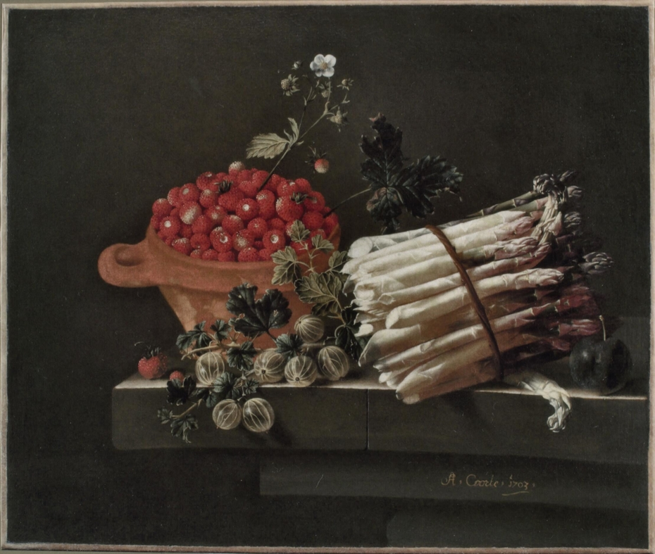 A Pot of Strawberries, Gooseberries, and a Bundle of Asparagus on a Stone Plinth