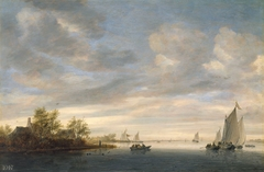 A River Landscape with Sailing Boats