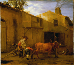 A Smith shoeing an Ox