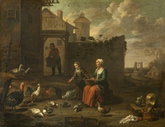 A Woman and a Girl tending Poultry