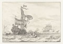 Admiraliteitsjacht op weg naar een voor anker liggende vloot