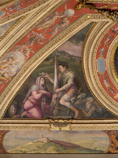 Allegory of Cortona; to the bottom, view of Montecarlo