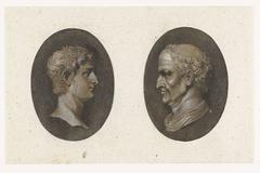Antieke camee met portretkop, in profiel naar links
