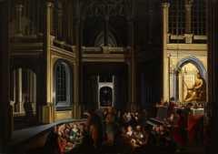 Architectural Interior at Night with the Priests of Bel