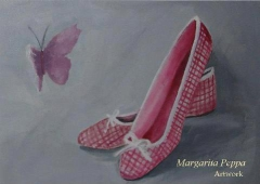 """ballerina shoes"" acrylic on canvas 35 x 25"