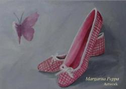 """ballerina shoes"" acrylic on canvas 35 x 25"