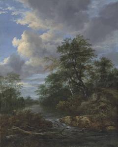 Bebost rivier landschap met rustende familie
