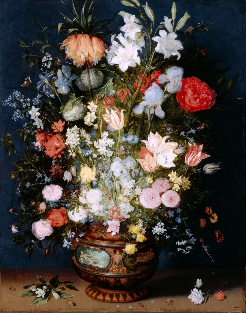 Bouquet of Flowers in a Ceramic Vase