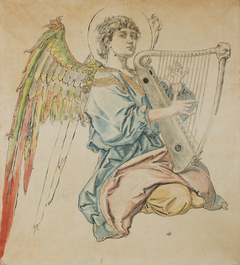 Cardboard for the Polychromy in the St Mary's Church – Figure of an Angel Playing the Lute
