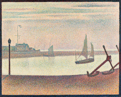 Channel at Gravelines, Evening, Marine avec des ancres