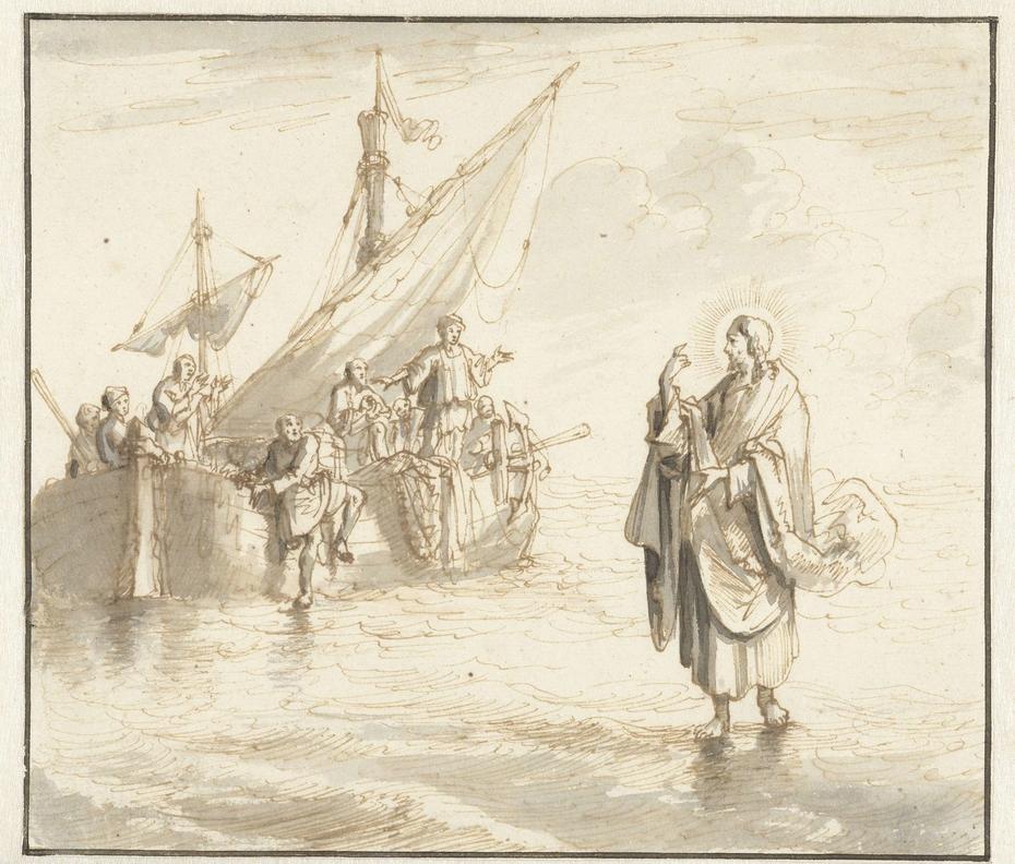 Christus loopt op het water