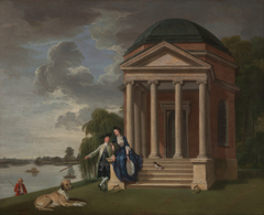 David Garrick and his wife by his Temple to Shakespeare, Hampton