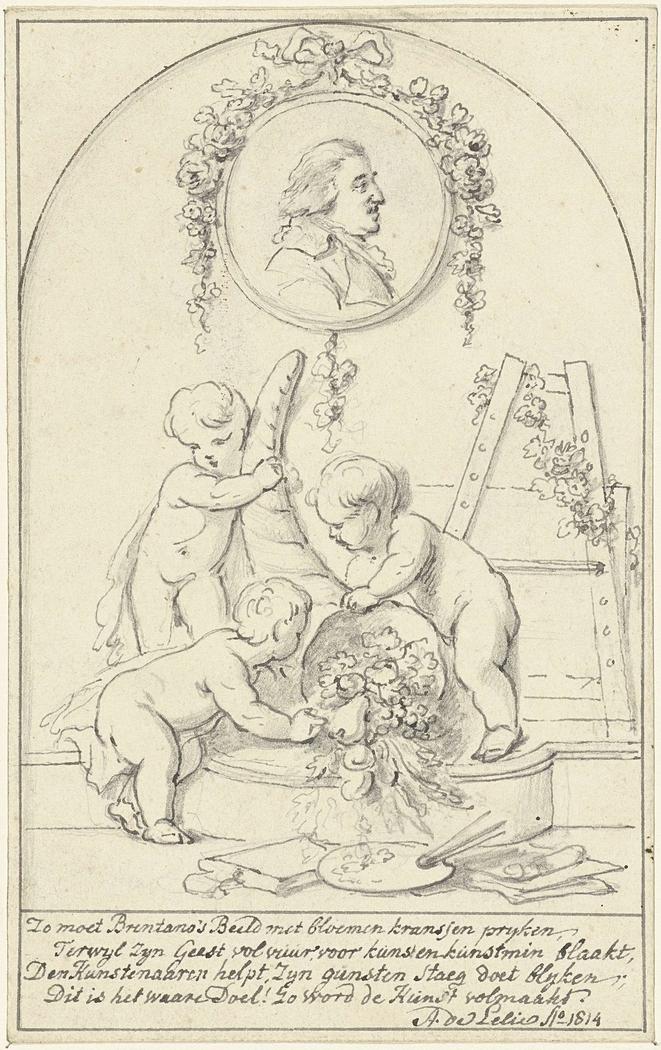 Decoratief ontwerp met putti met hoorn des overvloeds met een portret van Josephus Augustinus Brentano