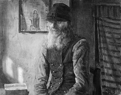 En jysk bonde læser i Bibelen