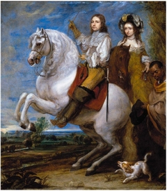 Equestrian portrait of an elegant couple